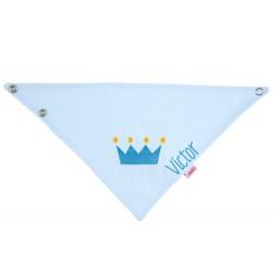 Asciuga-bavetta Personalizzata - Piquè Corona Azzurro