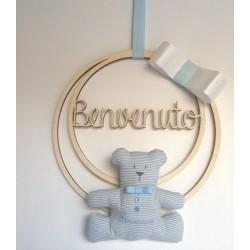 Dietro-porta personalizzato con orsetto ricamato
