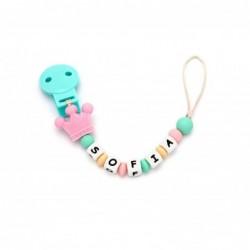 Porta - ciuccio e dentarello Personalizzato - corona rosa