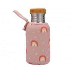 Borraccia in acciaio arcobaleno rosa con fodera  personalizzabile