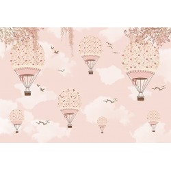 Carta personalizzata per stanzetta - Volo in mongolfiera fiori rosa