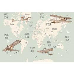 Carta da parati personalizzata per Stanzetta - Mappa e Aeroplani