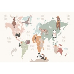 Carta da parati personalizzata per stanzetta-Continenti con animali