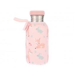 Borraccia in acciaio Cerbiatti rosa con fodera  personalizzabile - 500 ml