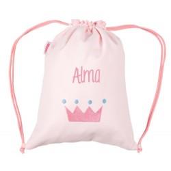 Sacca Personalizzata Piquè corona rosa