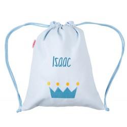 Sacca Personalizzata Piquè corona azzurra